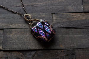 Dichroic Purple and Black Fused Glass Double Sided Pendant with Copper Wire Wrapping