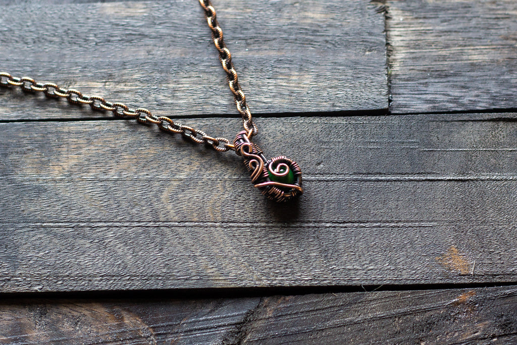Copper Mini Pendant with Dark Green Fused Glass Accent