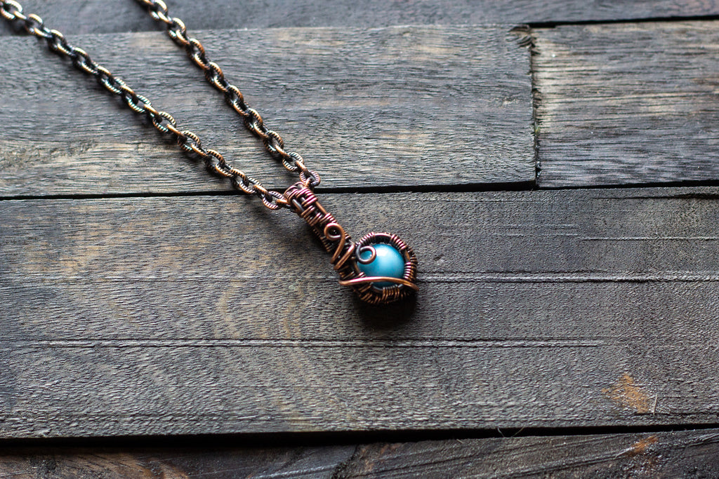 Copper Mini Pendant with Baby Blue Fused Glass Accent