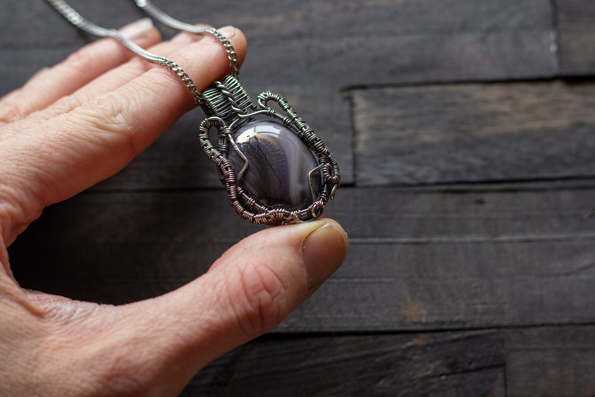 Streaked Grey Fused Glass and Sterling Silver Wire Wrapped Pendant