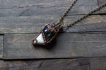 """Oil Slick"" Dichroic and White Fused Glass Pendant with Copper Wire Wrapping"