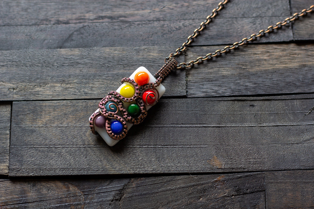 Chakra-Inspired Fused Glass Pendant with Copper Wire Wrapping
