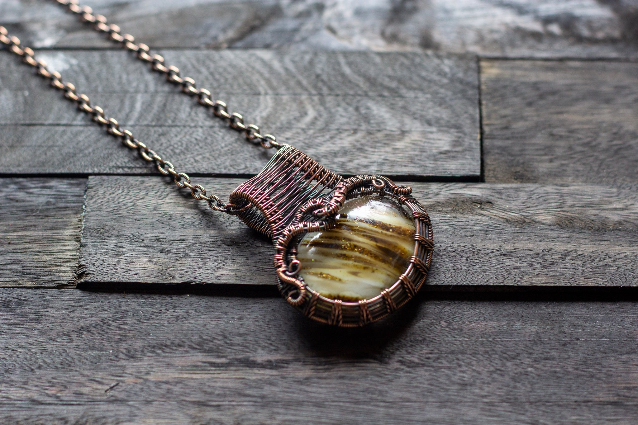 Dichroic Gold Fused Glass Statement Pendant with Copper Wire Wrapping