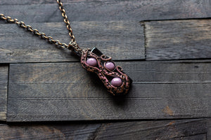 Purple and Black Glass Pendant with Copper Wire Wrapping