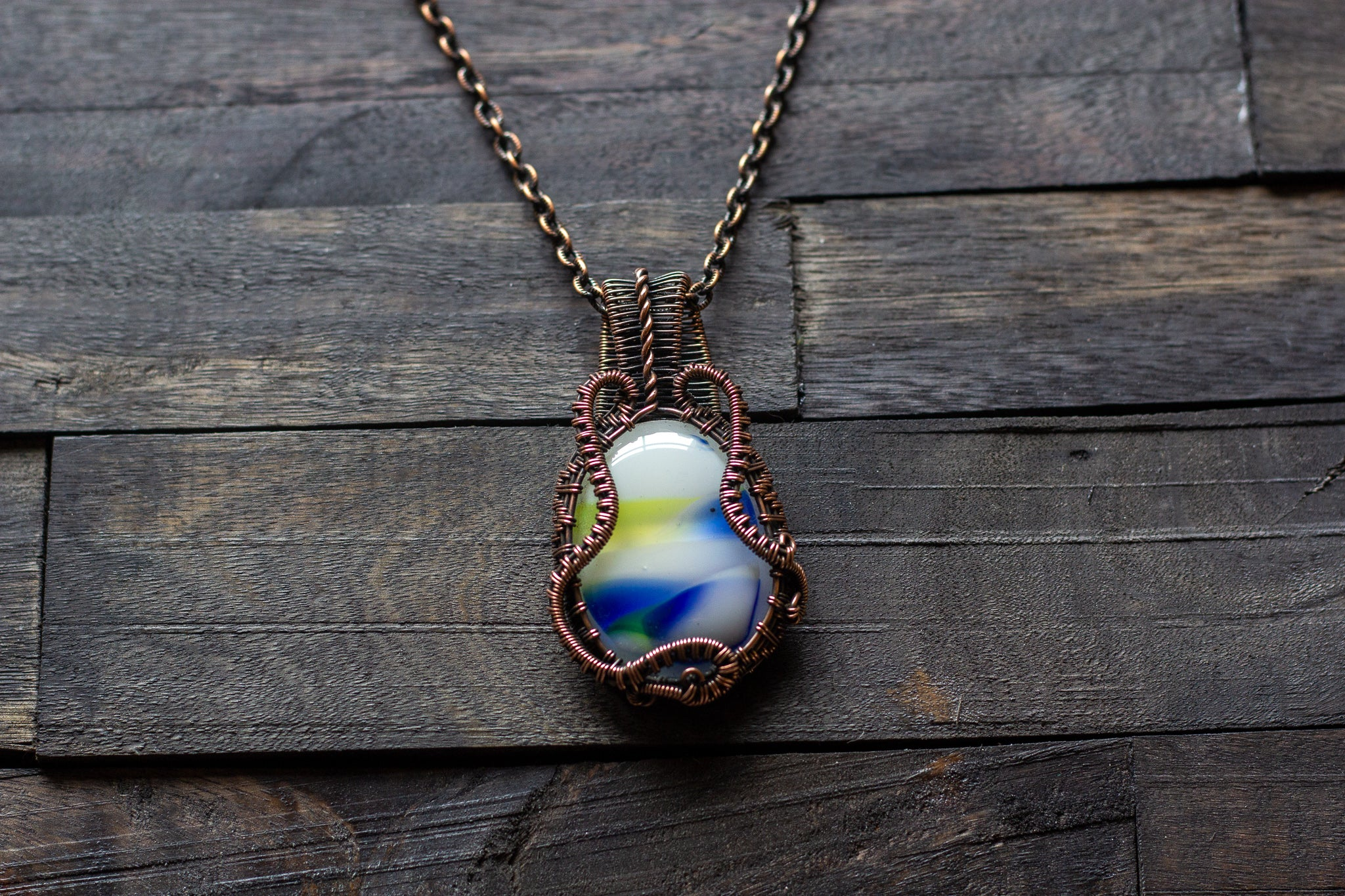 Streaked Blue, Yellow and White Fused Glass Pendant with Copper Wire Wrapping