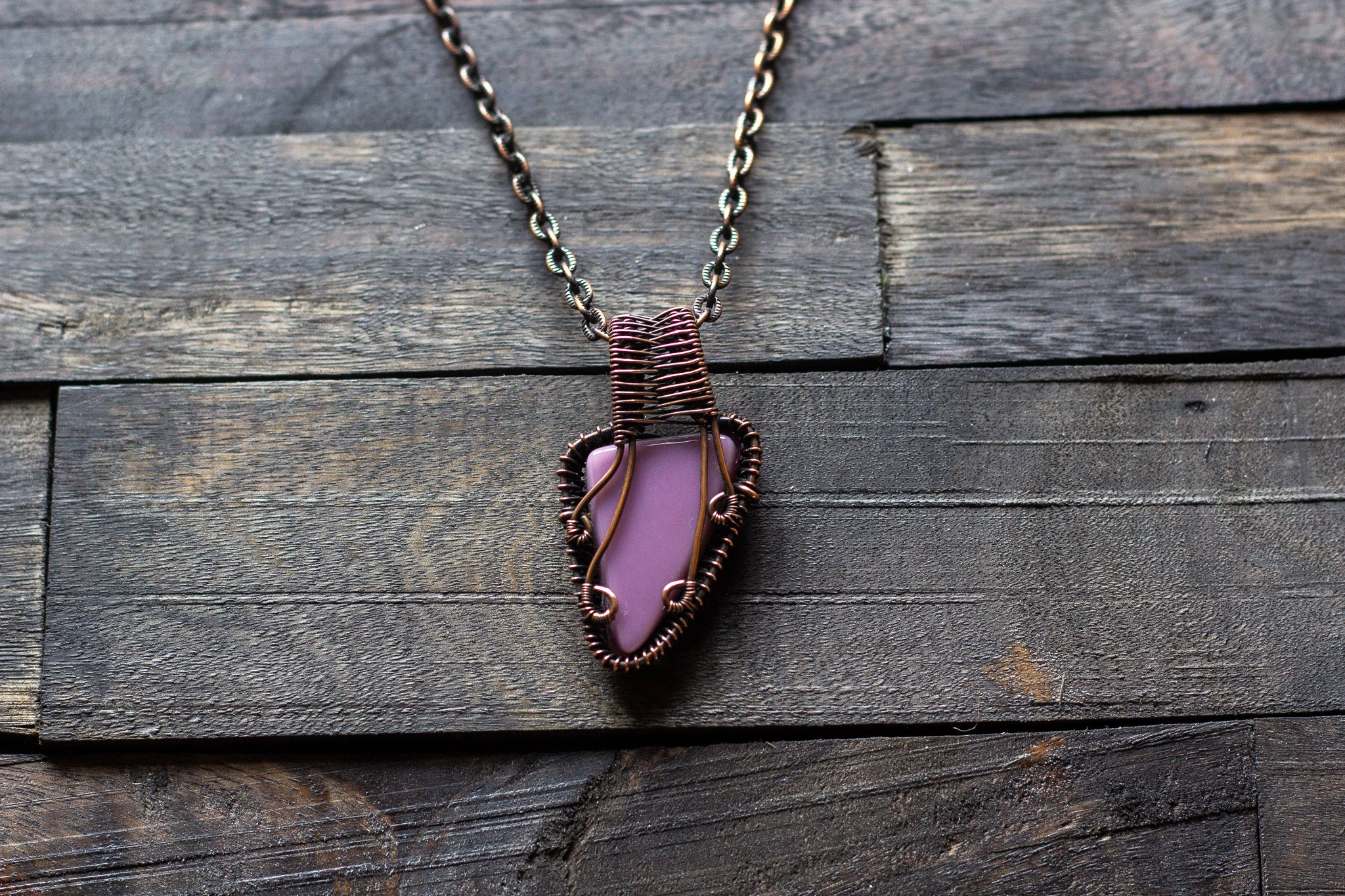 Shades of Purple and Cream Fused Glass Pendant with Copper Wire Wrapping