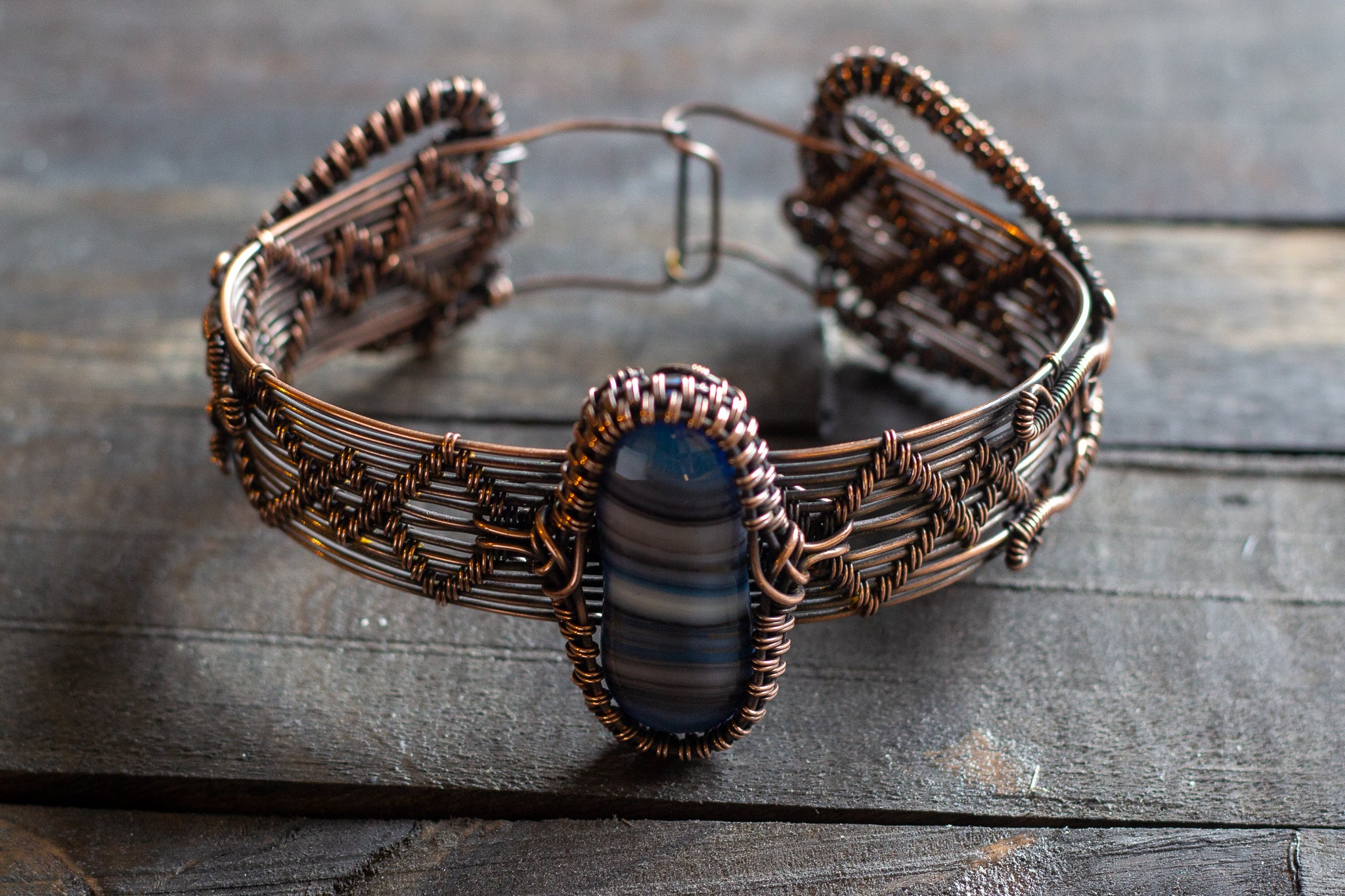 Copper Wire Wrapped Statement Bracelet with Streaked Blue and Grey Fused Glass