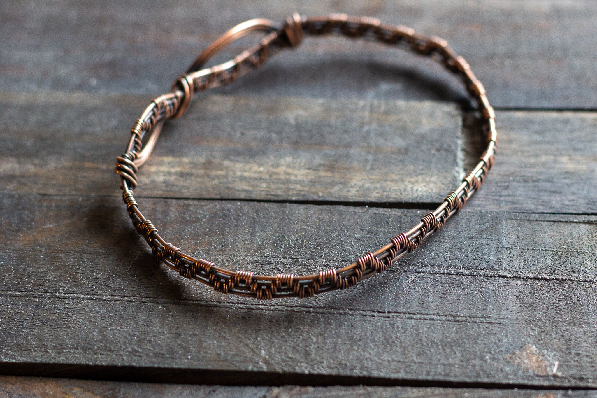 Copper Wire Wrapped Infinity Bangle