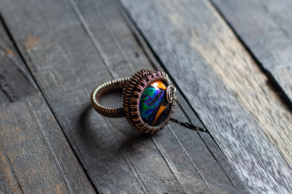 Copper Wire Wrapped Ring with Multi-colored Fused Glass Accent