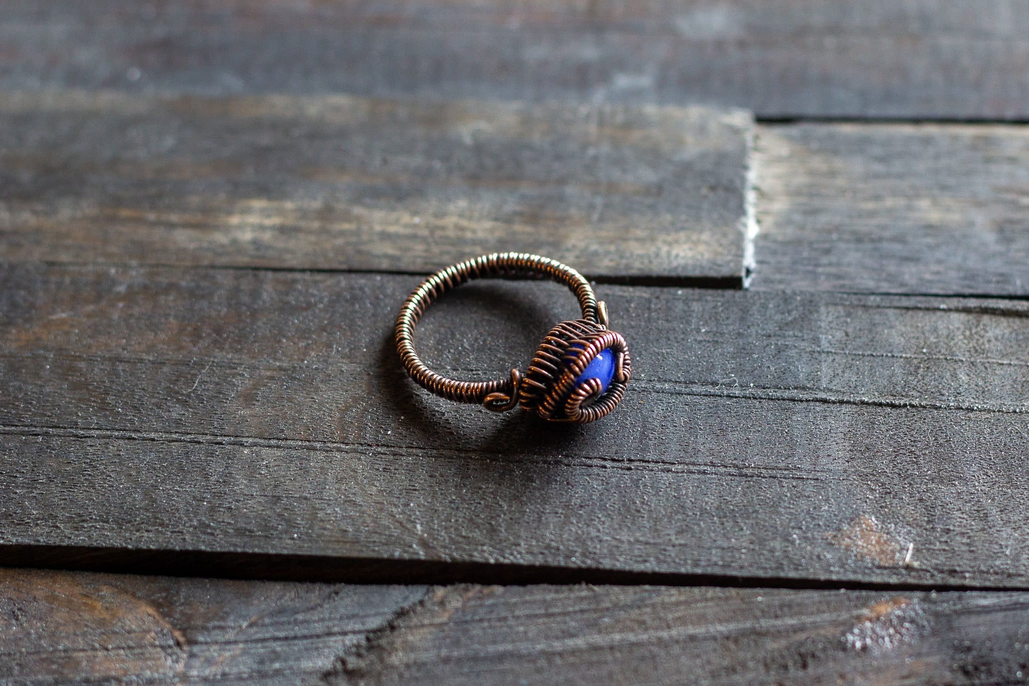Blue Fused Glass and Copper Wire Wrapped Ring