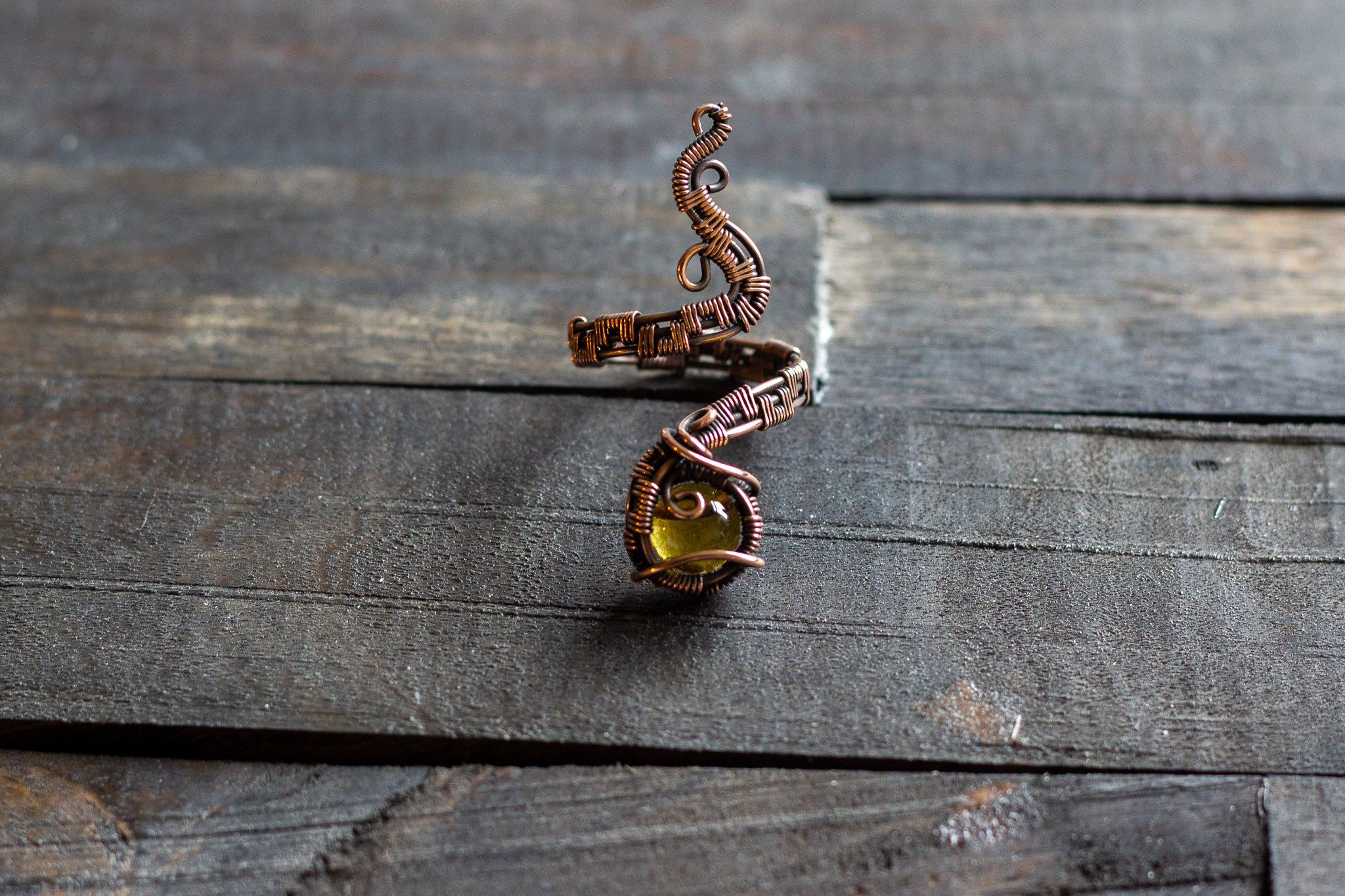 Adjustable Copper Ring with Transparent Amber Fused Glass Accent