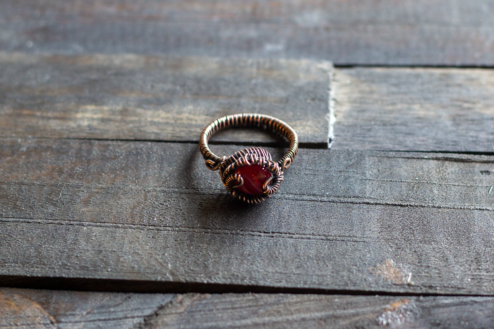 Streaked Red and White Fused Glass and Copper Wire Wrapped Ring