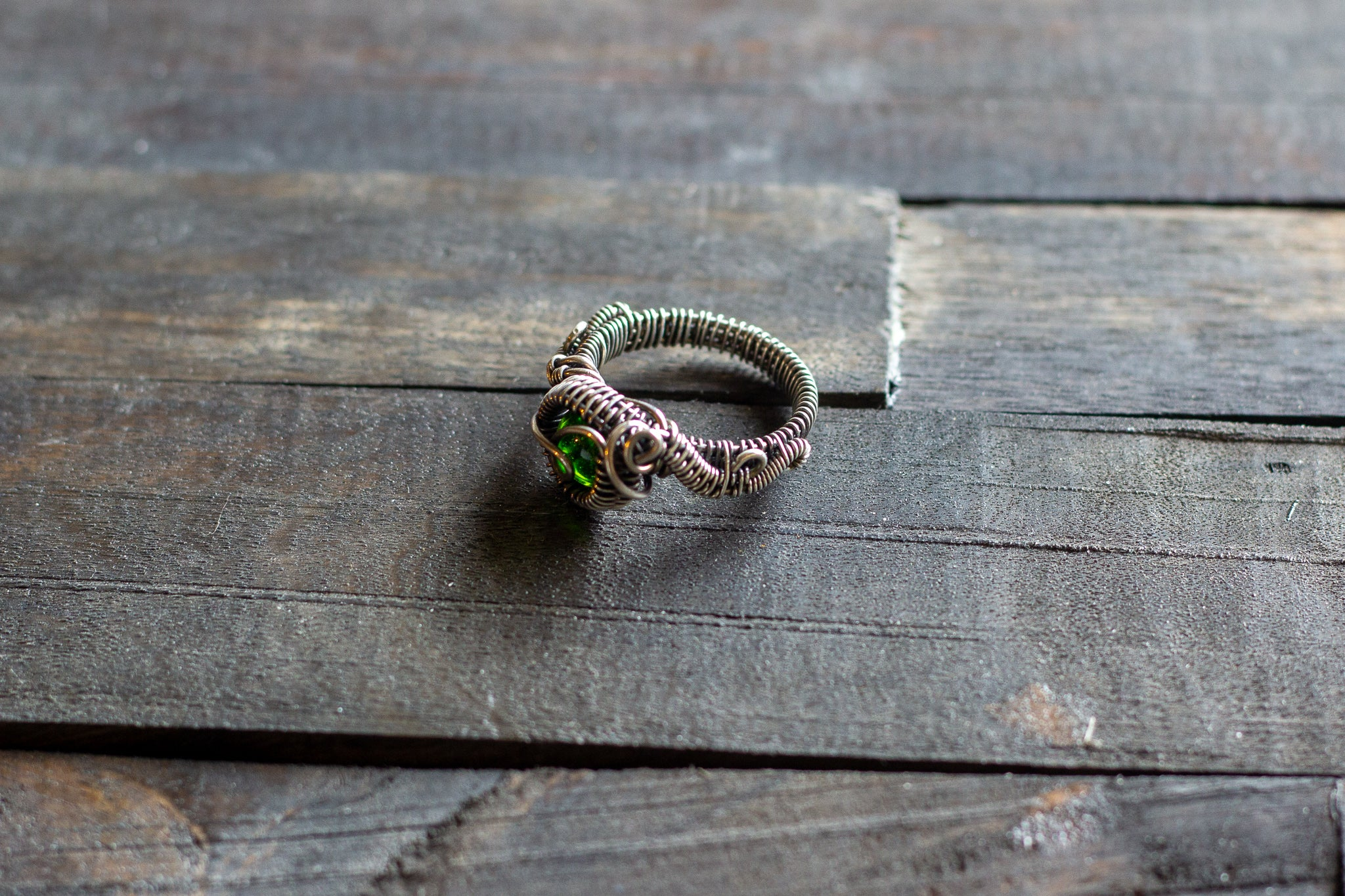 Sterling Silver Wire Wrapped Ring with Transparent Green Fused Glass Accent