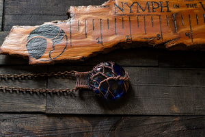 Copper Tree of Life Pendant with Dark Blues and Black Fused Glass