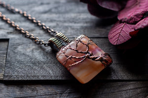Shades of Sunset Fused Glass Pendant with Copper Tree of Life