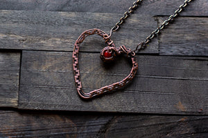 Copper Heart Pendant with Red Fused Glass Accent