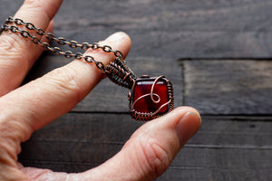 Deep Red Fused Glass Pendant with Copper Wire Wrapping