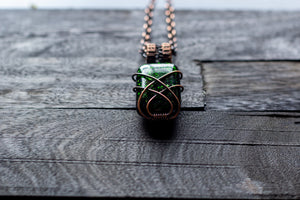 Glittery Dichroic Green Glass Pendant with Copper Wire Wrapping