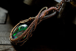 Copper pendant, double-sided, with green and purple fused glass
