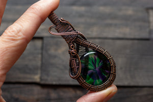 Purple and Green Fused Glass Double Sided Pendant with Copper Wire Wrapping