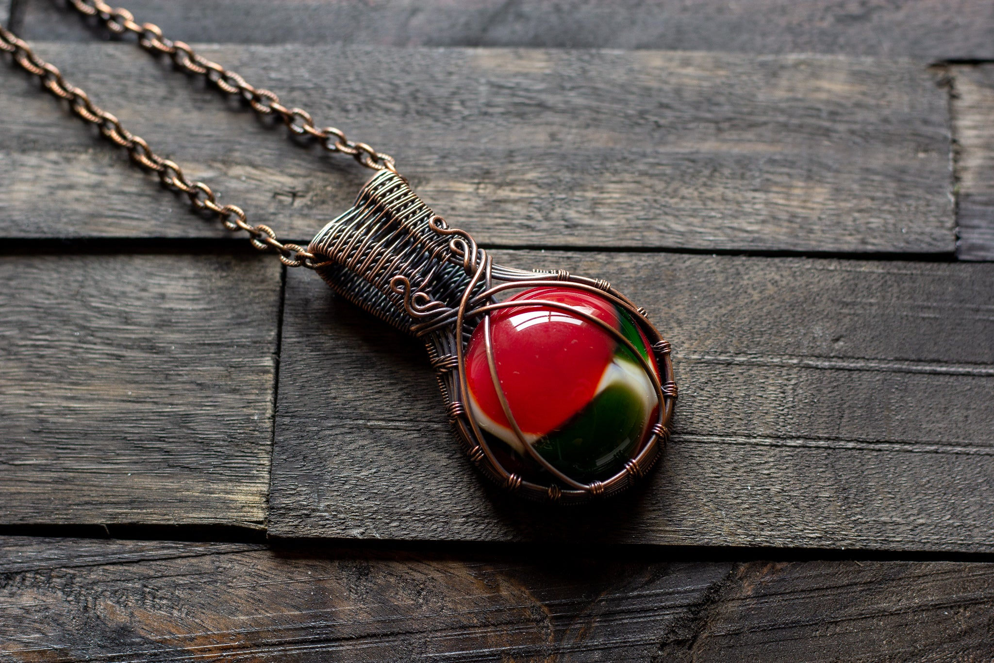 Copper pendant with red, green and white fused glass
