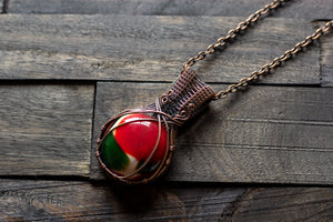 Red, Green and White Fused Glass Pendant with Copper Wire Wrapping