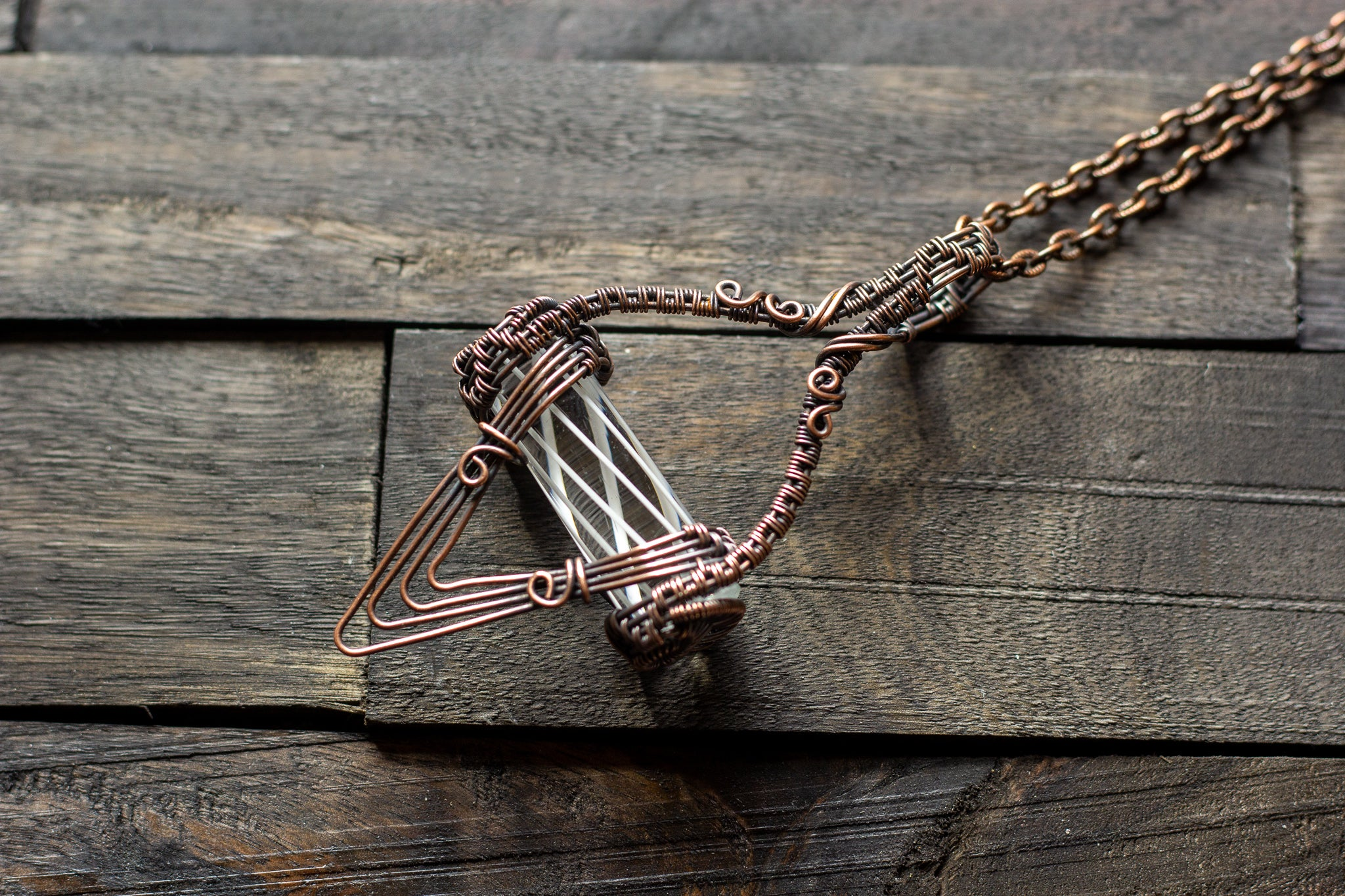 Abstract Copper Wire Wrapped Pendant with Transparent White Striped Pattern Rod