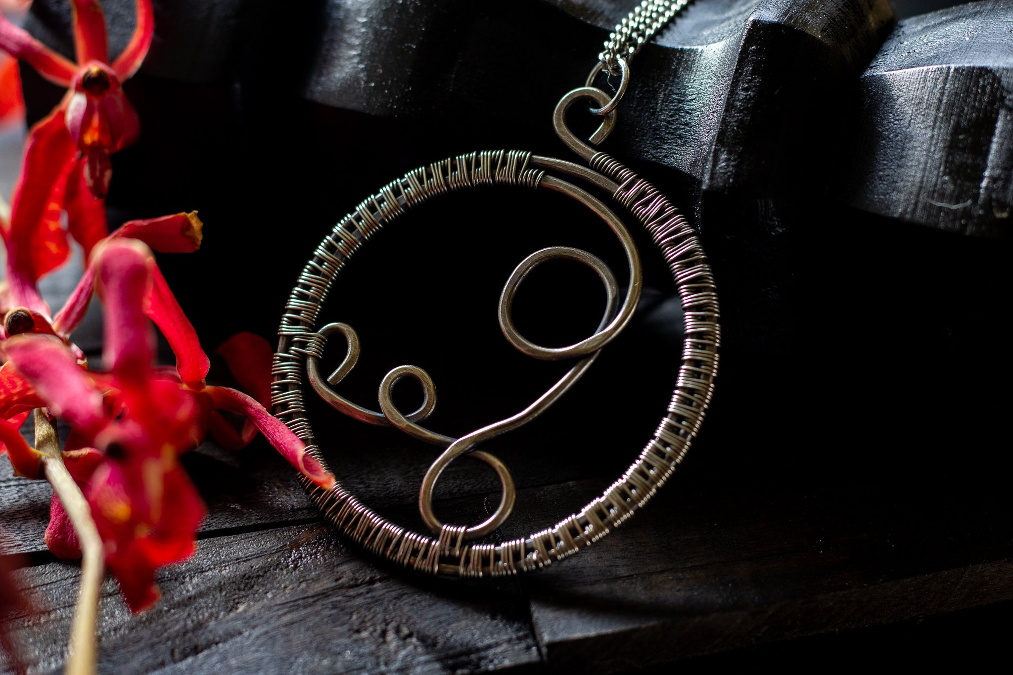 Circular Sterling Silver Wire Wrapped Pendant
