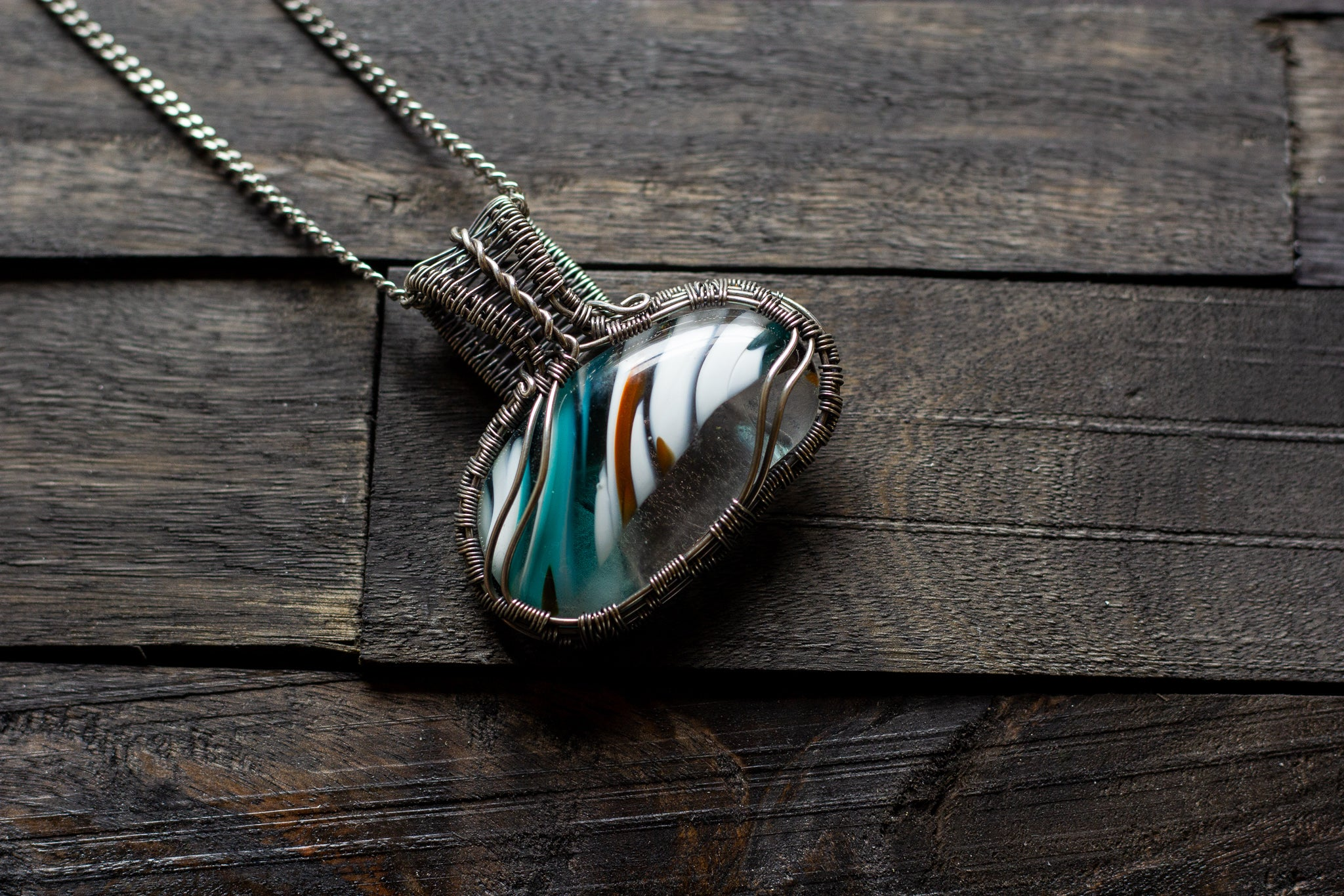 Streaked Blue, Orange and White Fused Glass Pendant with Sterling Silver Wire Wrapping