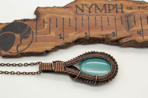 teal-fused-glass-double-sided-pendant-copper-wire-wrapping-nymph-in-the-woods-jewelry