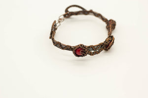 copper-wire-wrapped-bracelet-bright-red-fused-glass-accents-nymph-in-the-woods-jewelry