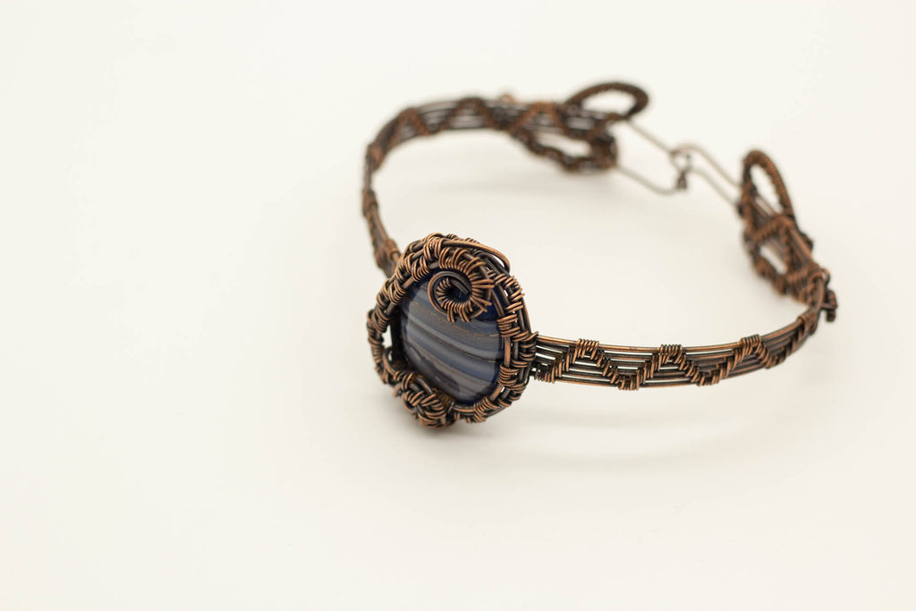 streaked-grey-blue-fused-glass-copper-wire-wrapped-bracelet-nymph-in-the-woods-jewelry