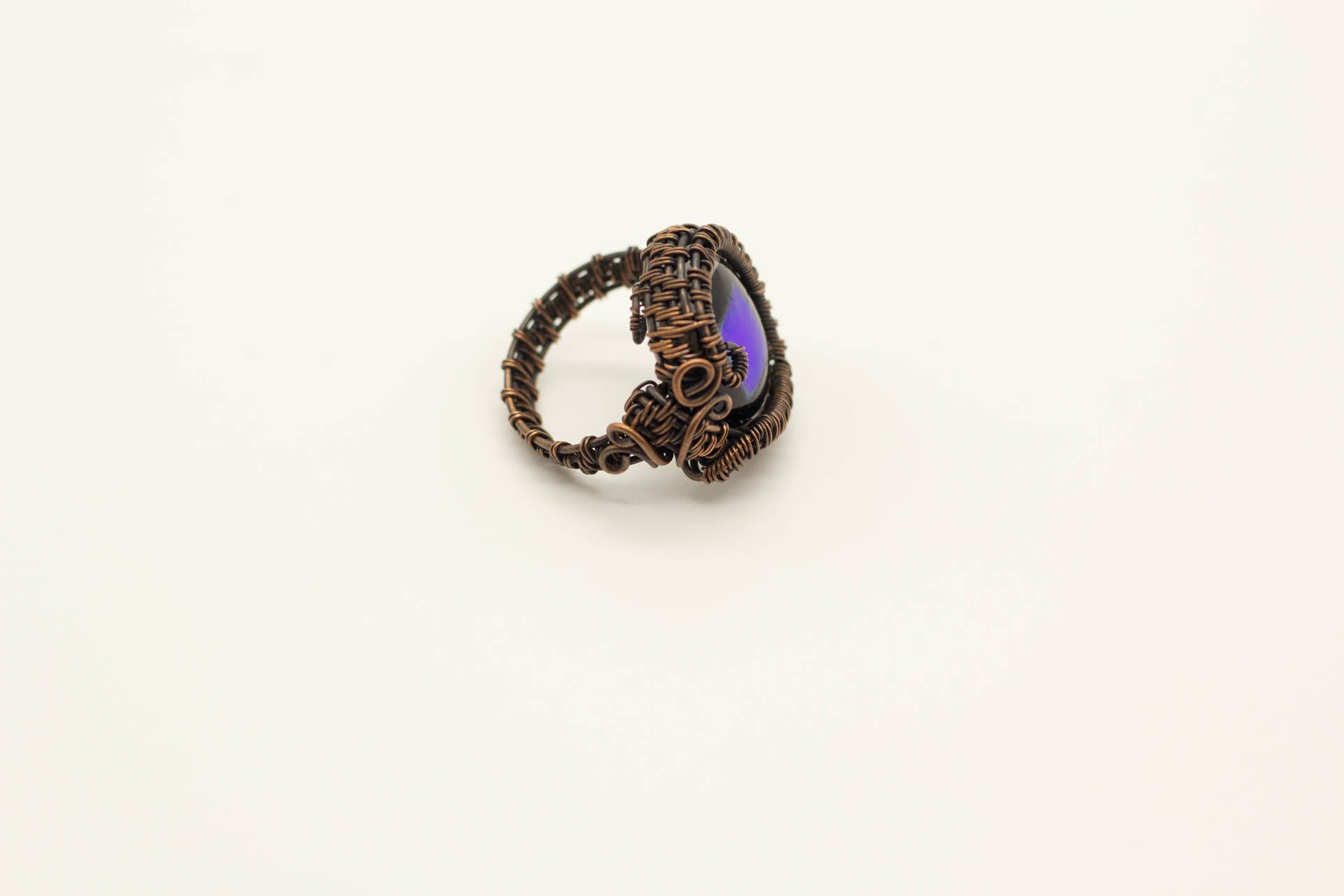 dichroic-blue-black-fused-glass-copper-wire-wrapped-ring-nymph-in-the-woods-jewelry