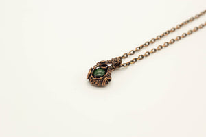dark-green-fused-glass-mini-pendant-copper-wire-wrapping-nymph-in-the-woods-jewelry