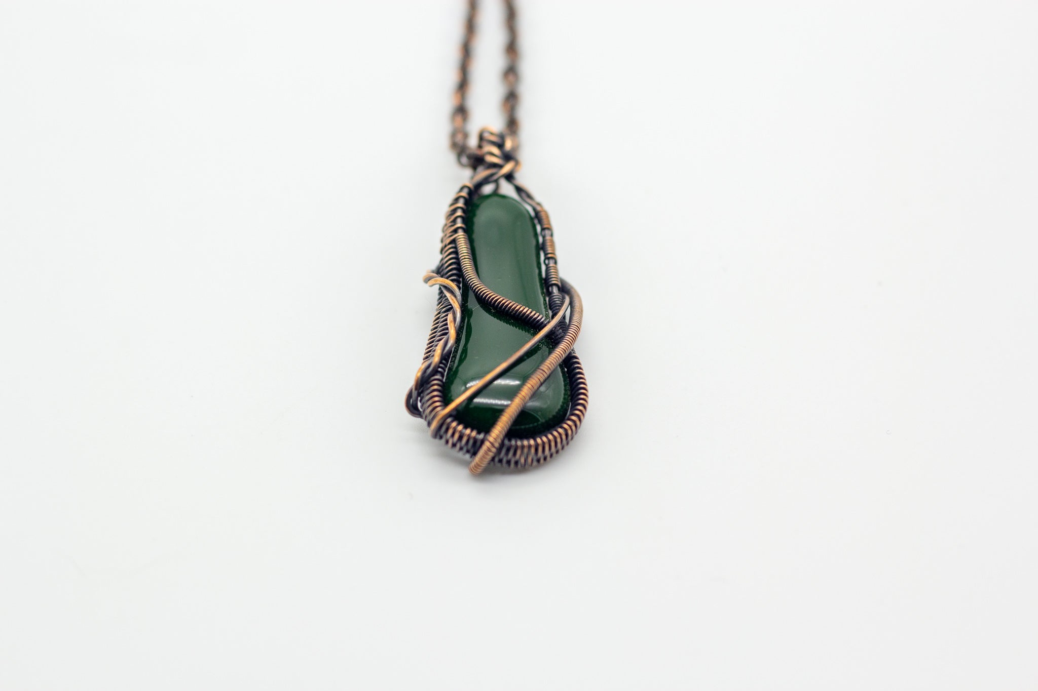 dark-green-fused-glass-pendant-copper-wire-wrapping-nymph-in-the-woods-jewelry