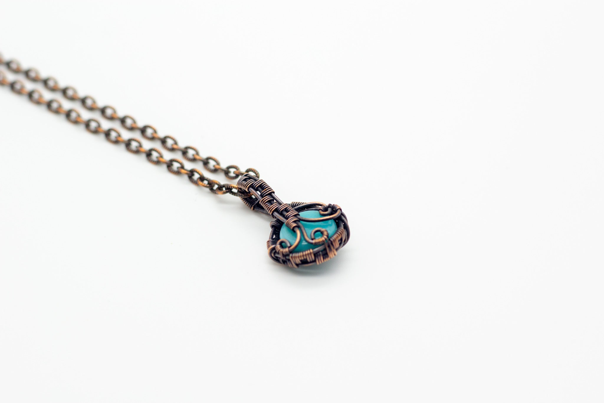streaked-blue-fused-glass-mini-pendant-copper-wire-wrapping-nymph-in-the-woods-jewelry