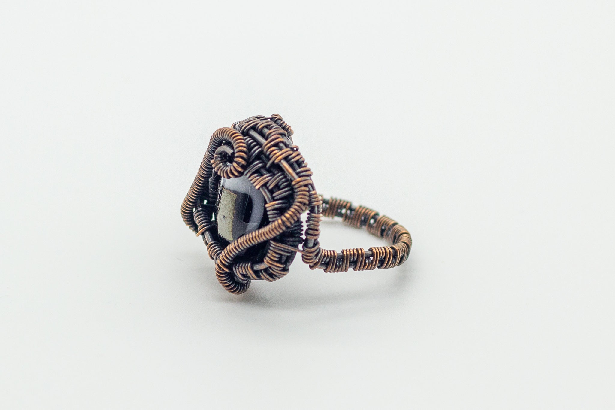 black-gold-dichroic-fused-glass-copper-wire-wrapped-ring-nymph-in-the-woods-jewelry