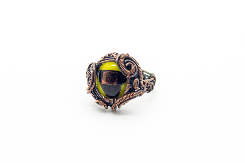 Yellow black and gold fused glass and copper wire wrapped ring Nymph In the Woods jewelry