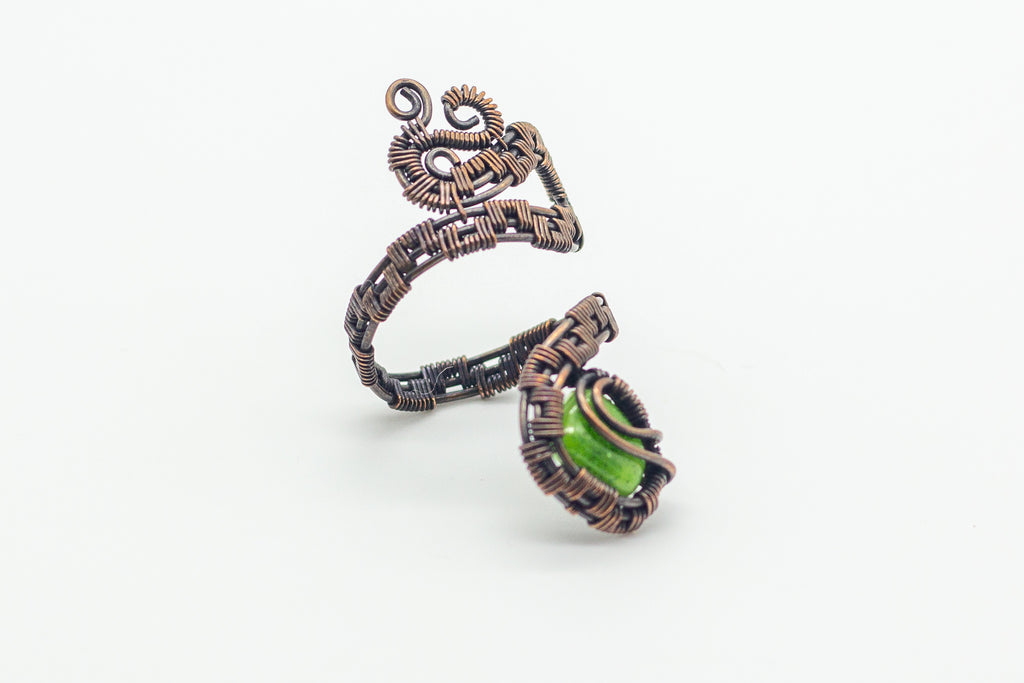 Copper Adjustable Ring with Bright Green Dirchroic Fused Glass Accent