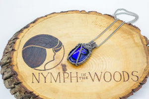 Sterling-silver-wire-pendant-blue-fused-glass-nymph-in-the-woods-jewelry