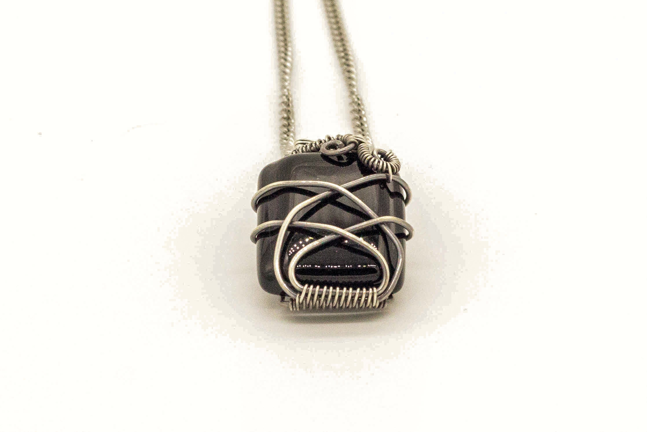 black-fused-glass-pendant-sterling-silver-wire-wrapping-nymph-in-the-woods-jewelry