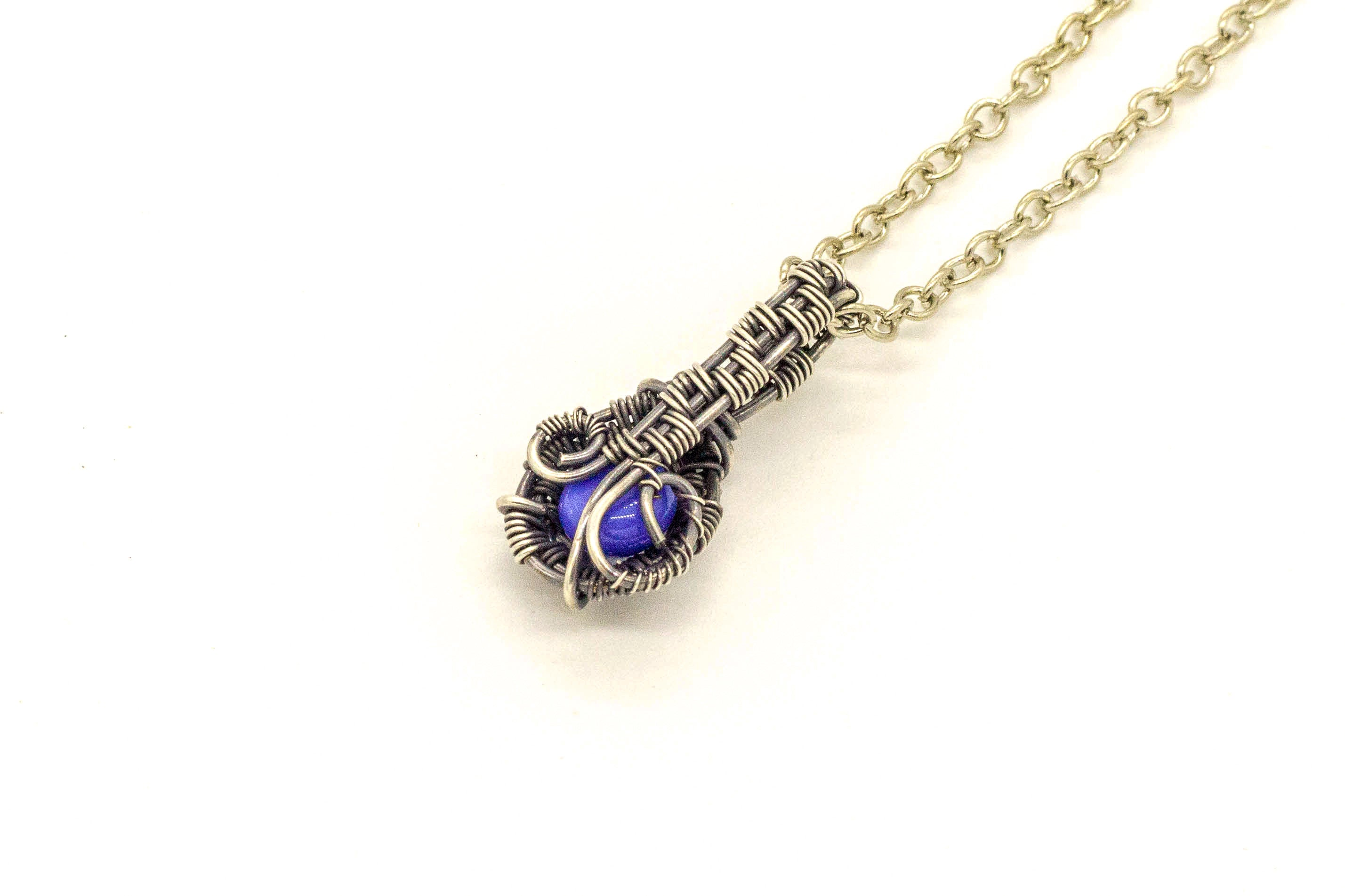 blue-fused-glass-mini-pendant-sterling-silver-wire-wrapping-nymph-in-the-woods-jewelry