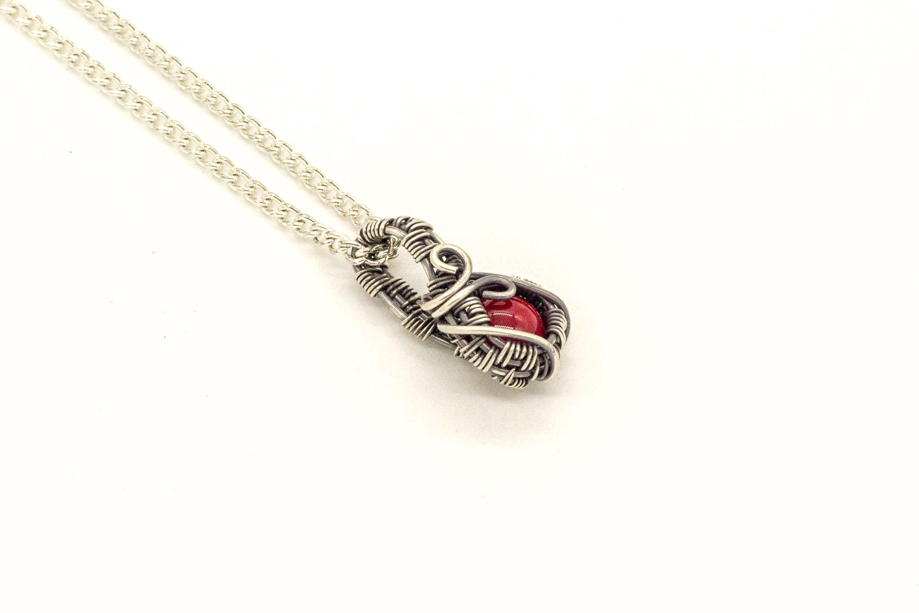 bright-red-fused-glass-mini-fused-glass-pendant-sterling-silver-wire-wrapped-nymph-in-the-woods-jewelry