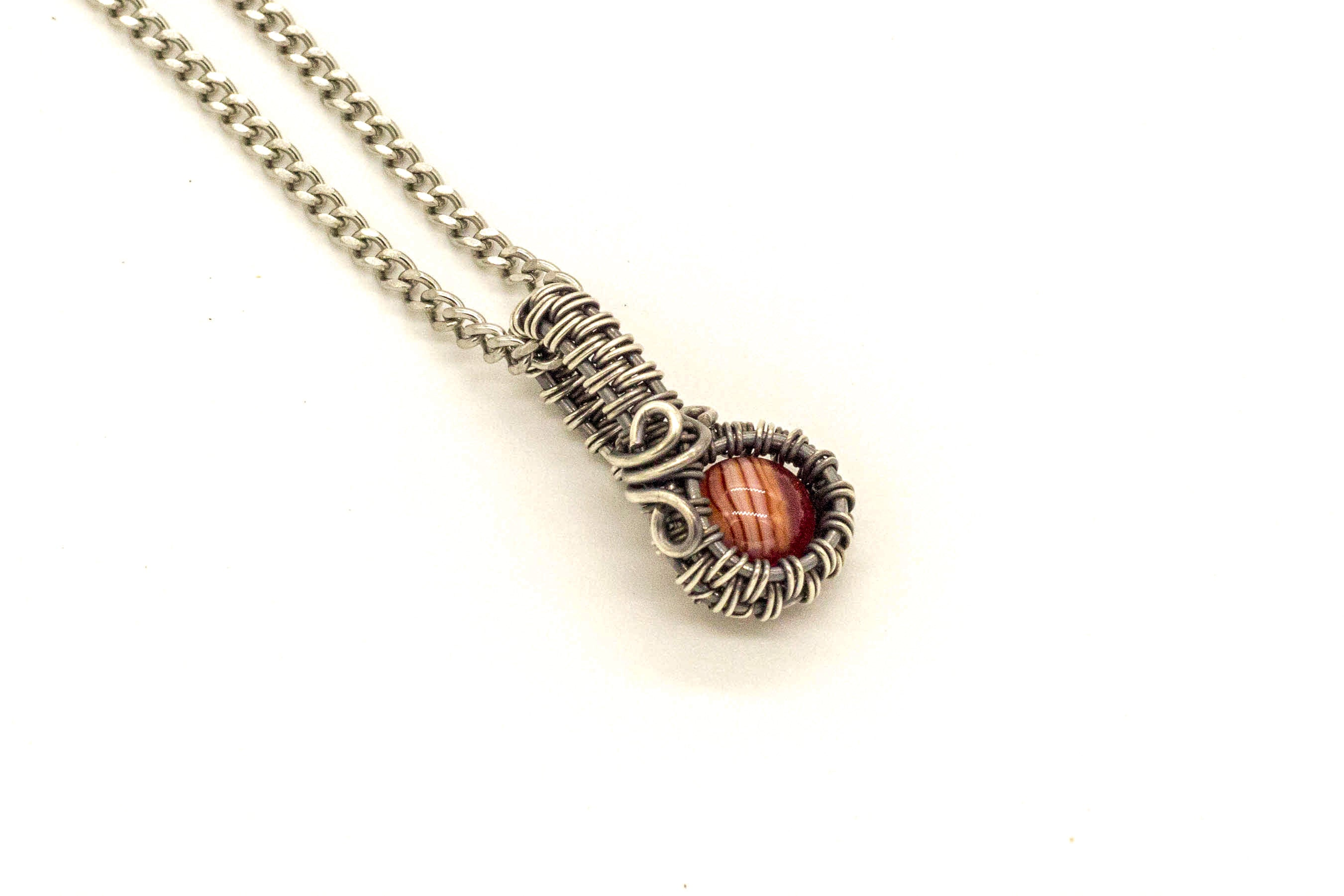 streaked-red-fused-glass-mini-pendant-sterling-silver-wire-wrapping-nymph-in-the-woods-jewelry