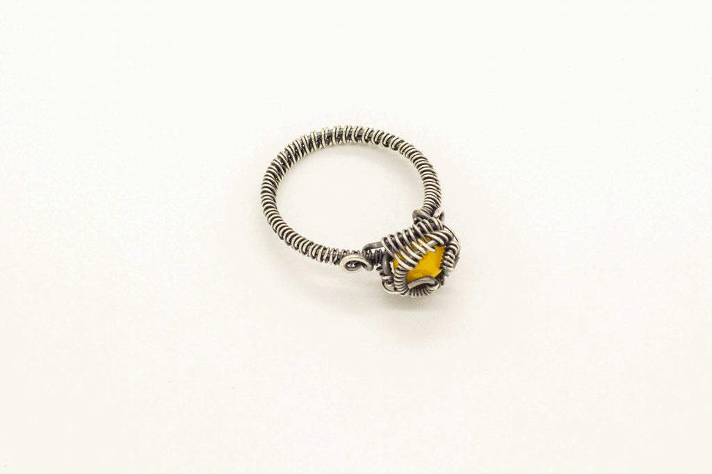 sterling-silver-wire-wrapped-ring-yellow-fused-glass-accent-nymph-in-the-woods-jewelry