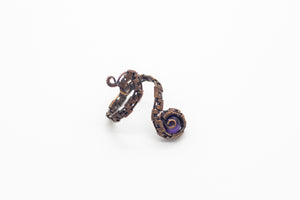 handmade copper wire wrapped adjustable ring with  purple fused glass accent