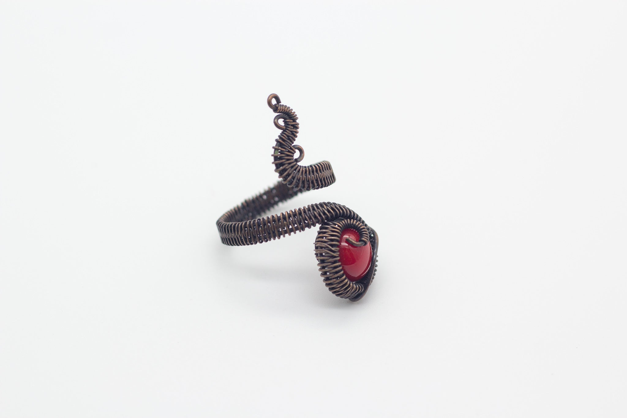handmade copper wire wrapped adjustable ring with red fused glass accent