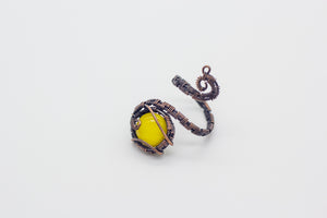 handmade copper wire wrapped adjustable ring with yellow fused glass accent