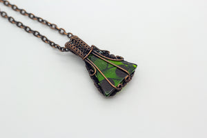 Small handmade Christmas tree pendant with fused glass and copper wire wrapping