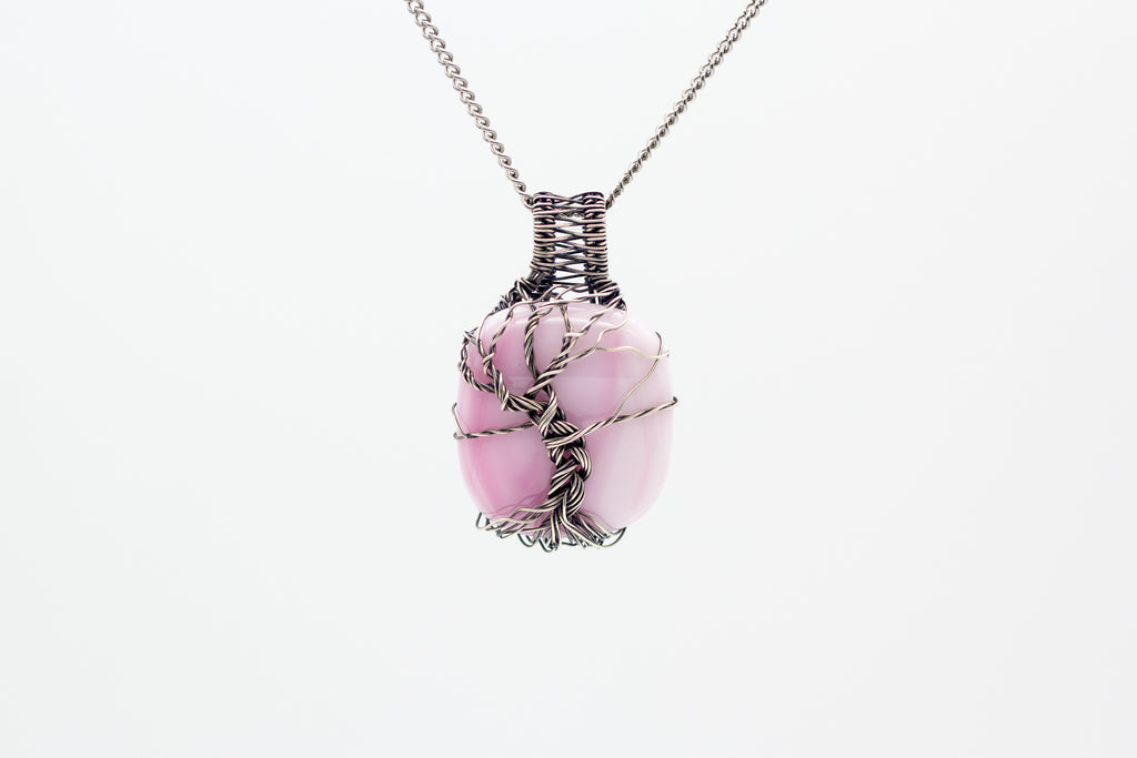 handmade sterling silver tree of life pendant with pink fused glass